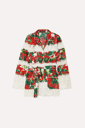 Dolce & Gabbana Belted Floral-print Cotton-blend Twill And Guipure Lace Shirt - Red