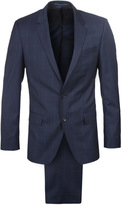 Boss Huge 4/ Genius 4 Navy Checked Slim Fit Suit