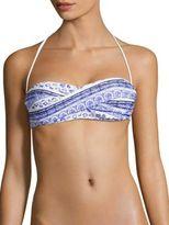 Shoshanna Batik-Printed Twist Bandeau Bikini Top