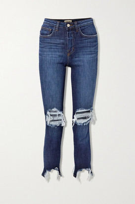 L'Agence High Line Cropped Distressed High-rise Skinny Jeans - Dark denim