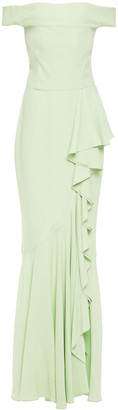Alexander McQueen Off-the-shoulder Ruffled Satin-crepe Gown