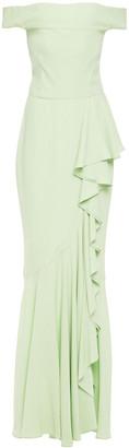 Alexander McQueen Off-the-shoulder Ruffled Satin-crepe Gown
