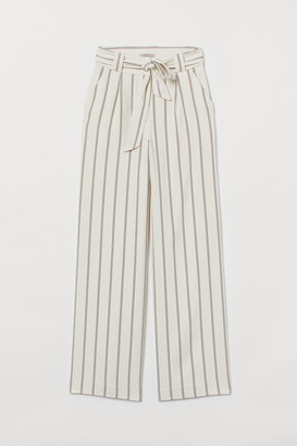 H&M Wide-cut Tie-belt Pants - Beige