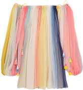 Chloé Off-the-shoulder Striped Silk-crepon Mini Dress - Bubblegum