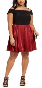 Morgan & Company Trendy Plus Size Off-The-Shoulder Glitter-Skirt Dress