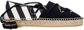 Off-White Lace Flat Espadrilles In Black Canvas