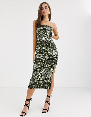 John Zack bandeau midaxi pencil dress in lime zebra