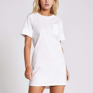 River Island White chest pocket mini T-shirt dress