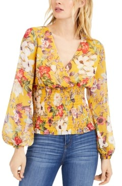 INC International Concepts Inc Floral Smocked Blouse, Created for Macy's