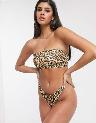 Asos Design DESIGN recycled mix and match longline bandeau bikini top in animal leopard print-Multi