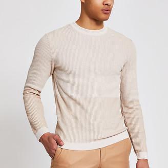 River Island Maison Riviera stone slim fit knit jumper