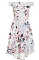 Quiz Grey And Pink Flower Print Bardot Dip Hem Dress