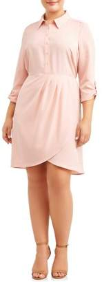 Paperdoll Women's Plus Size Button Down Shirtdress with Roll Tab