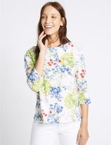 Marks and Spencer Floral Print 3/4 Sleeve Sweatshirt
