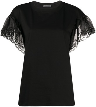 Alberta Ferretti lace-sleeve blouse