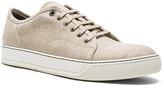Lanvin Waxy Woven Linen Low Top Sneakers
