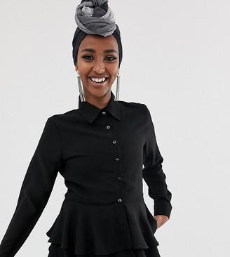 Verona frill long sleeved shirt in black