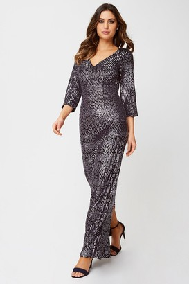 Little Mistress Katy Black Velvet Sequin Maxi Dress