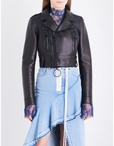 Off-White Cropped leather biker leather