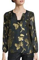Joie Vashti Floral Metallic Blouse