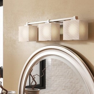 Brayden Studio Luzerne 3-Light Vanity Light Finish: Polished Chrome, Shade Color: Weave