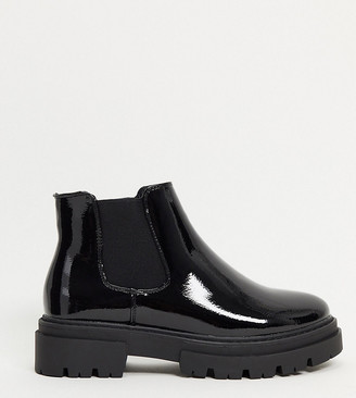 Glamorous Wide Fit chunky chelsea boot in black