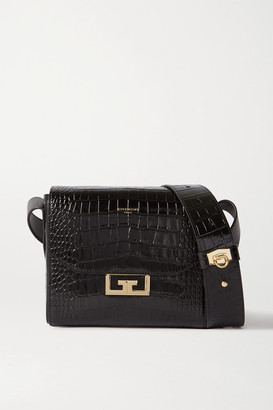 Givenchy Eden Small Croc-effect Leather Shoulder Bag - Black