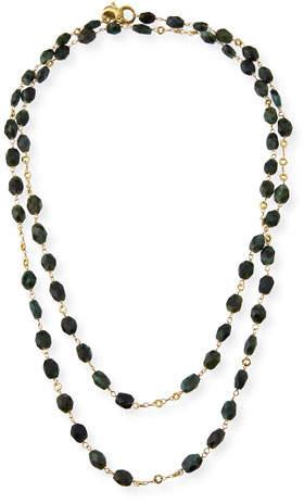 "Dominique Cohen Faceted Emerald Station Necklace, 42"""