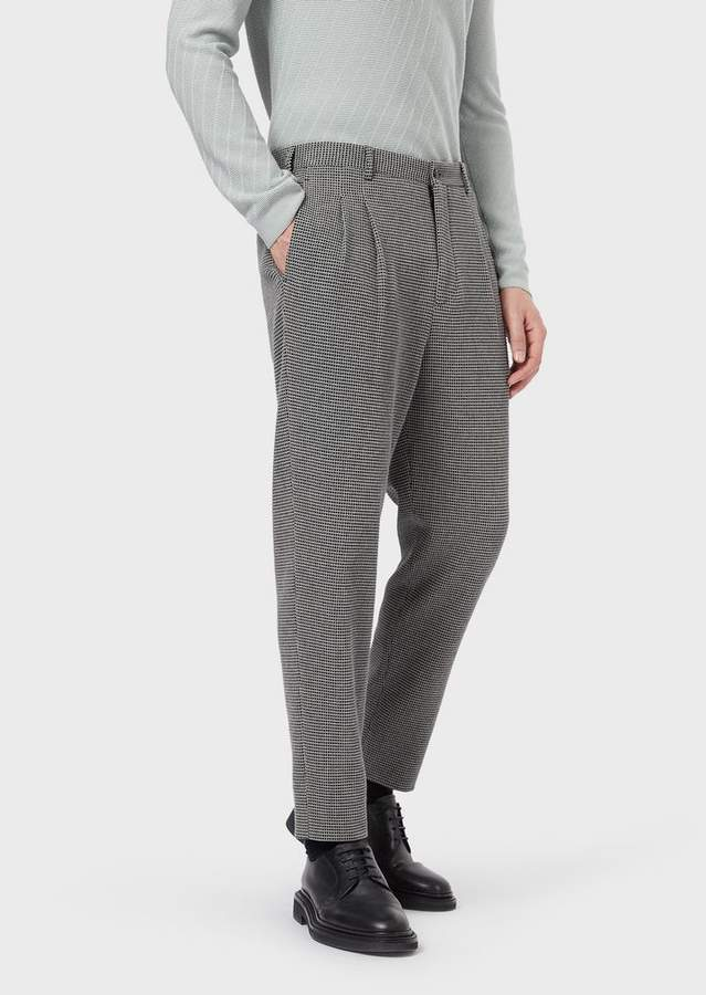 5060102240 Pleated Trousers With A Three-Dimensional, Geometric Pattern