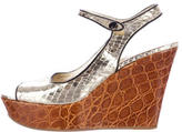 Prada Metallic Slingback Wedges