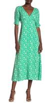 Lush Floral 3/4 Length Midi Dress