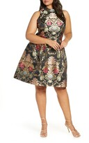 Chi Chi London Curve Amberley Metallic Tapestry Fit & Flare Cocktail Dress