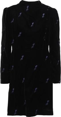 Maje Wrap-effect Embroidered Velvet Mini Dress