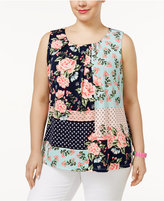 Charter Club Plus Size Mixed-Print Blouse, Only at Macy's