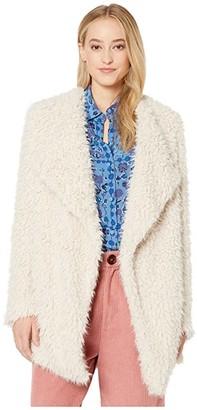 BB Dakota Soft Serve Wubby Drape Front Coat (Tan) Women's Coat