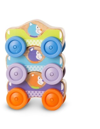 Melissa & Doug First Play 3-Piece Stacking Cars Toy Wooden Animal