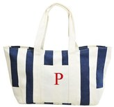 Cathy's Concepts Monogram Stripe Canvas Tote - Blue