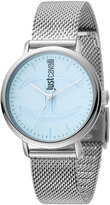 Just Cavalli 34mm CFC Stainless Steel Bracelet Watch w/ Mesh Strap, Blue