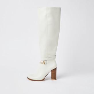 River Island Womens Ecru faux leather wood block heel boots