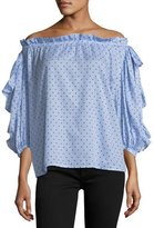 Robert Rodriguez Polka-Dot Off-the-Shoulder Top, Black/White