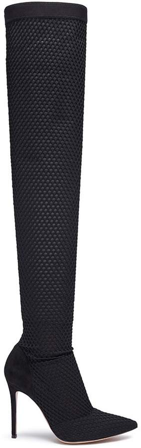 Gianvito Rossi Mesh overlay sock knit thigh high boots