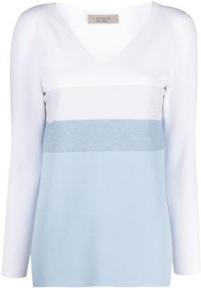 D-Exterior colour-block V-neck jumper