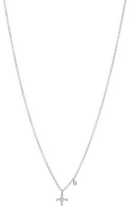 Meira T 14K White Gold Baguette Cut Diamond Cross Pendant Necklace