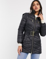 Barbour International zone longline quilted jacket with belt