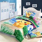 Sport Do Home Textile Japanese Anime Pokemon Cartoon Students Bedding Set Cute Pikachu Boys and Girls Duvet Cover Colorful Children Fashion Fillet Bed Sheets Twin Size 3Pcs