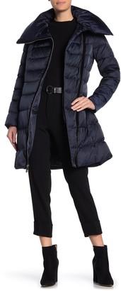 Tahari Brooklyn Hooded Asymmetrical Zip Down Puffer Coat