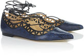 Bionda Castana Navy Elaphe Lace-Up Flats