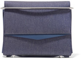 Eddie Borgo Boyd Small Leather-trimmed Denim Clutch - Indigo