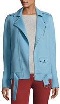 Theory Tralsmin DF New Divide Wool-Cashmere Biker Jacket, Ocean Blue