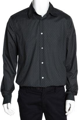 Louis Vuitton Dark Green Printed Cotton Button Front Shirt XL